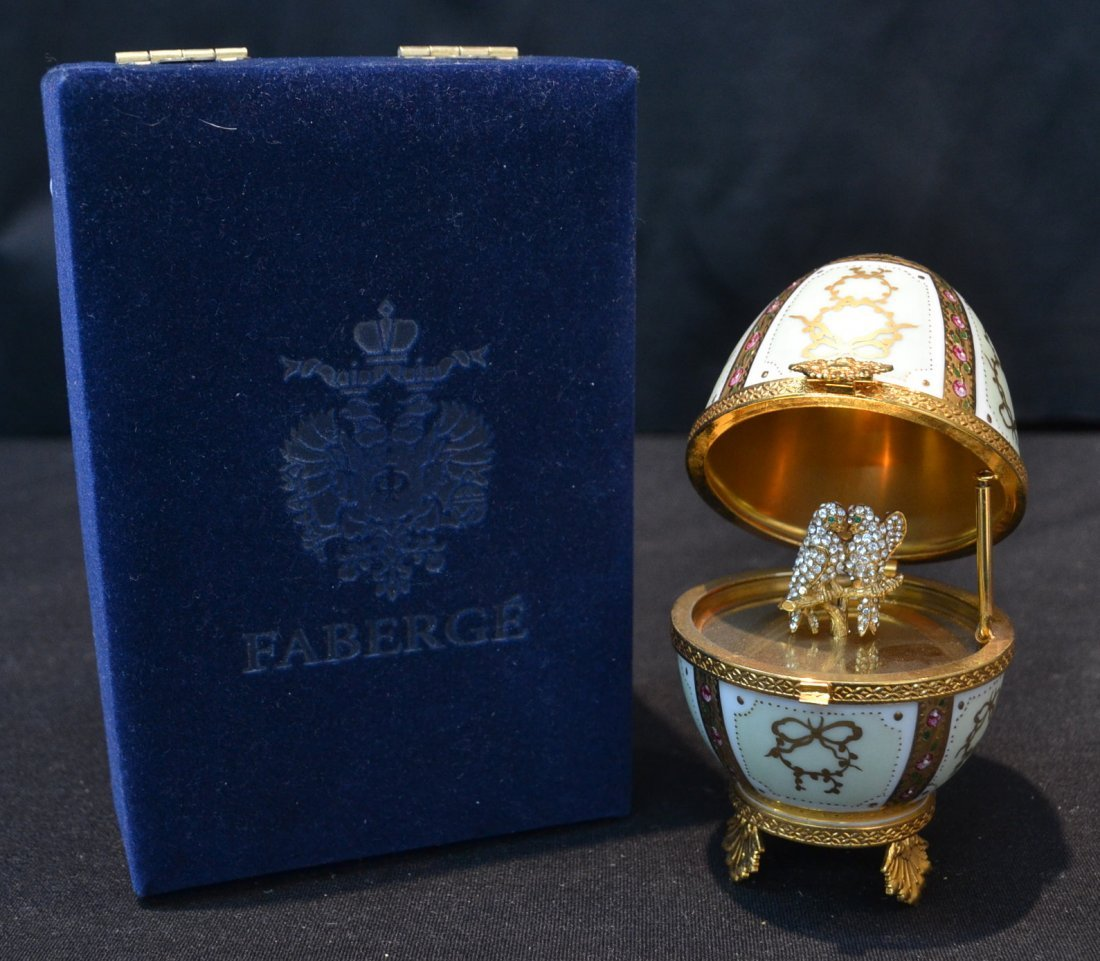 HAND PAINTED LIMOGES FABERGE EGG WITH JEWELED