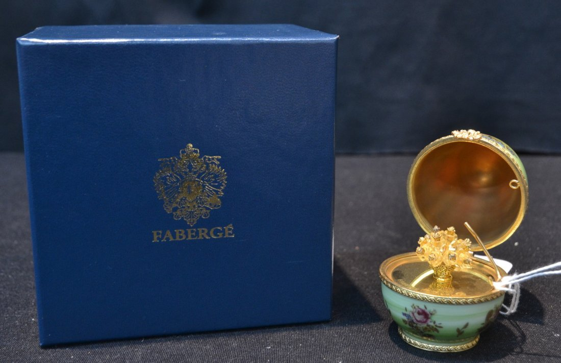 HAND PAINTED LIMOGES FABERGE EGG WITH JONQUIEL