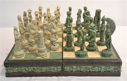 Mayan Vs Aztec Stone Chess Set In Self