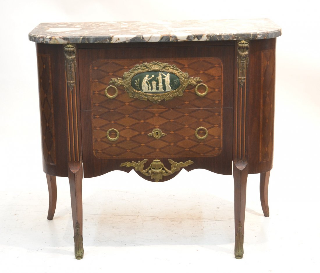 19thC FRENCH MARBLE TOP PARQUETRY INLAID COMMODE