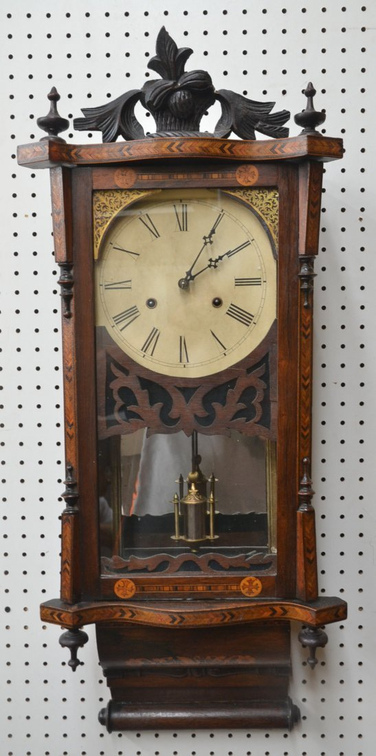PARQUETRY INLAID VICTORIAN WALL CLOCK WITH