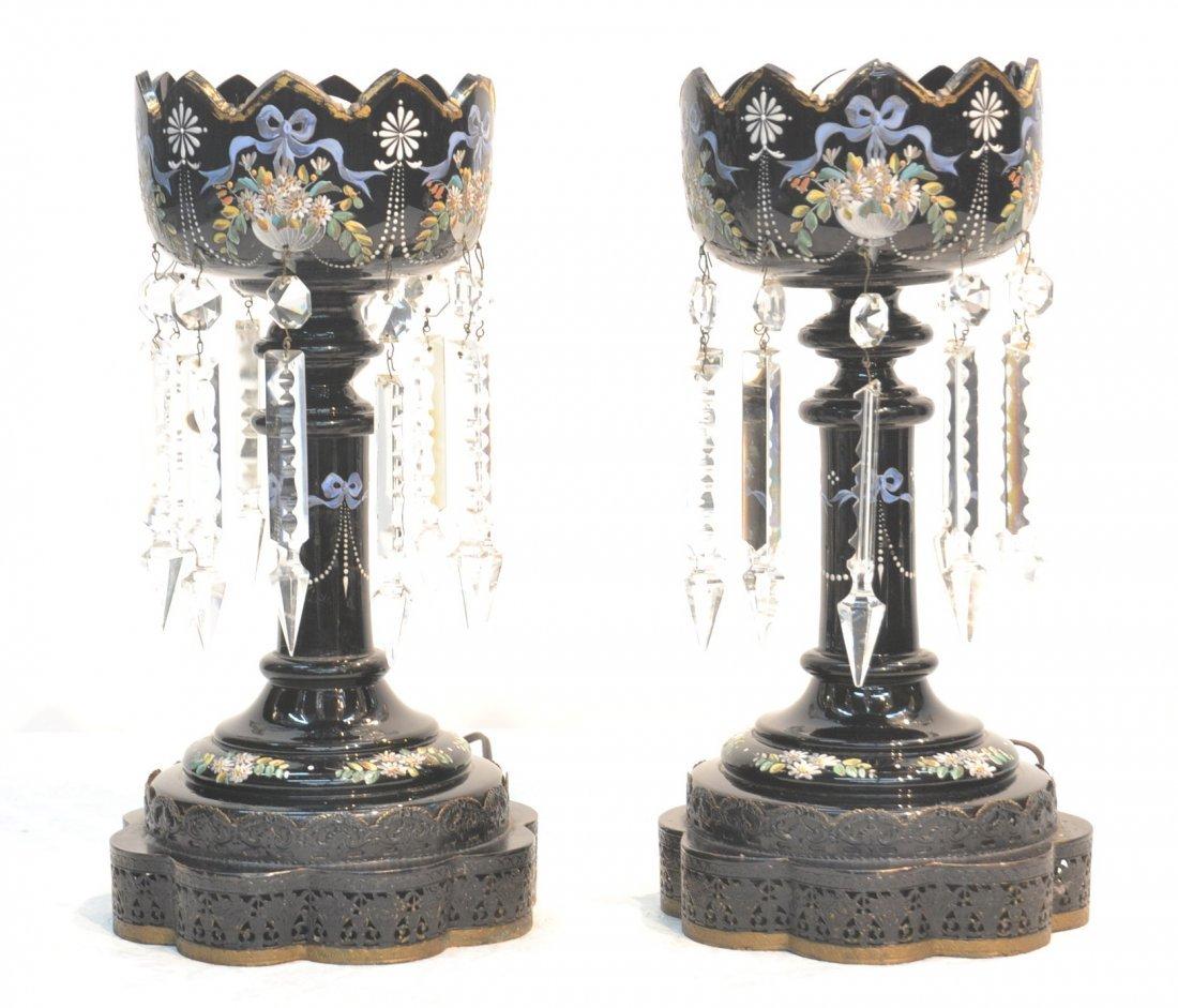 (Pr) BLACK GLASS LUSTRES WITH ENAMELED FLOWER