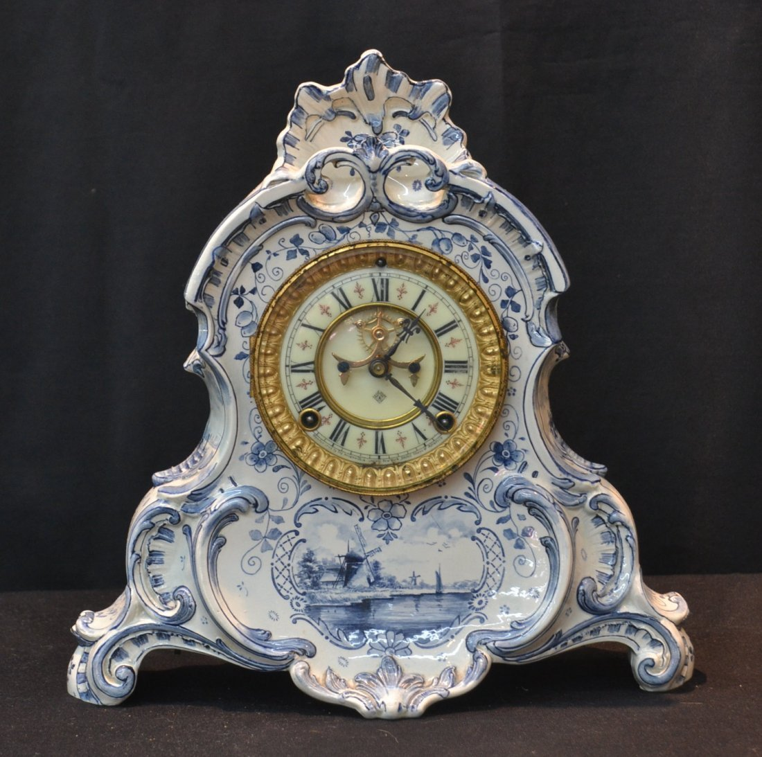 ANSONIA DELFT PORCELAIN CLOCK WITH OPEN