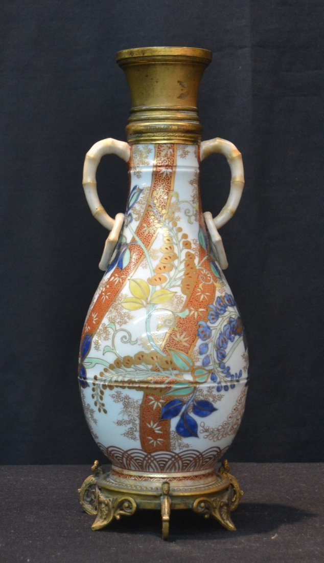 BRONZE MOUNTED ORIENTAL VASE WITH APPLIED
