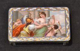 EARLY 19thC ENAMEL  GOLD GENTLEMANS SNUFF BOX