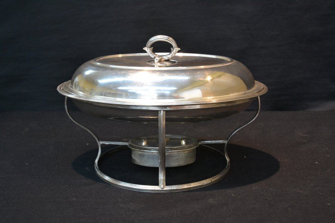 GEORGIAN STERLING SILVER HEATED SERVING DISH - 2