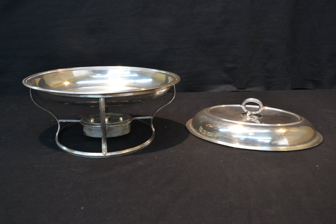 GEORGIAN STERLING SILVER HEATED SERVING DISH - 6