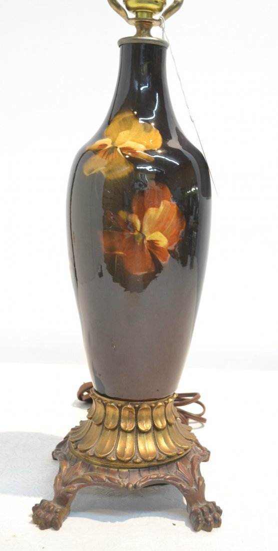 OWENS - WELLER POTTERY VASE LAMP WITH CARVED
