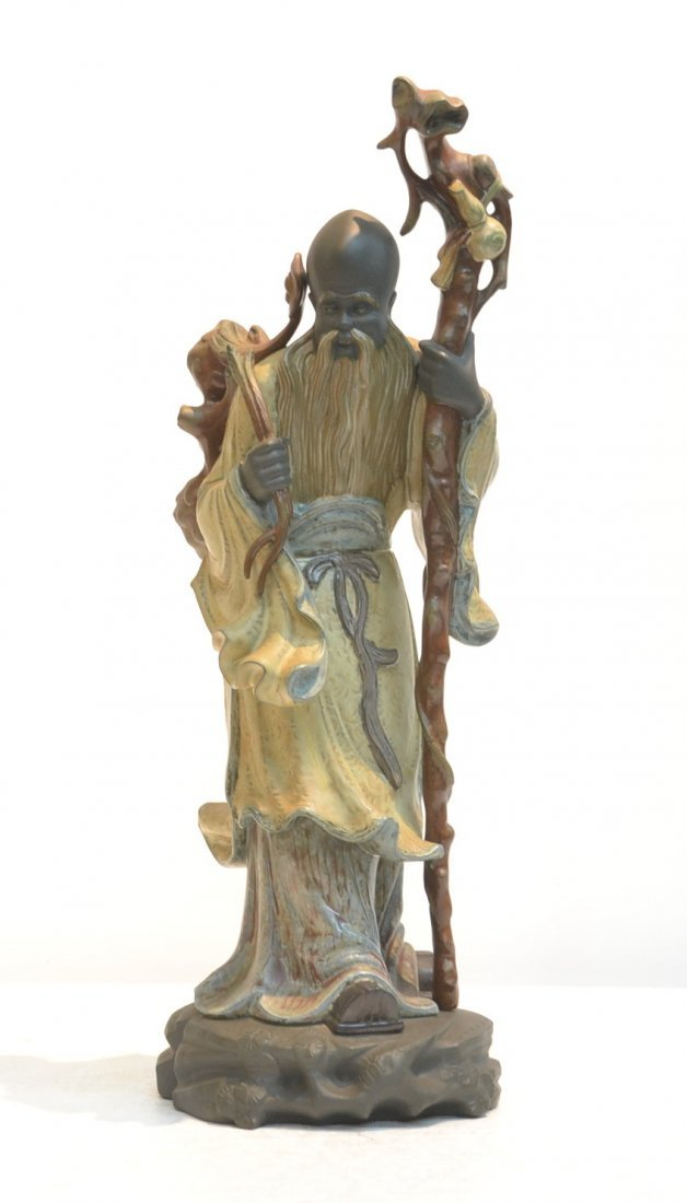 GRES FINISH LLADRO CHINESE FARMER WITH CLOAK