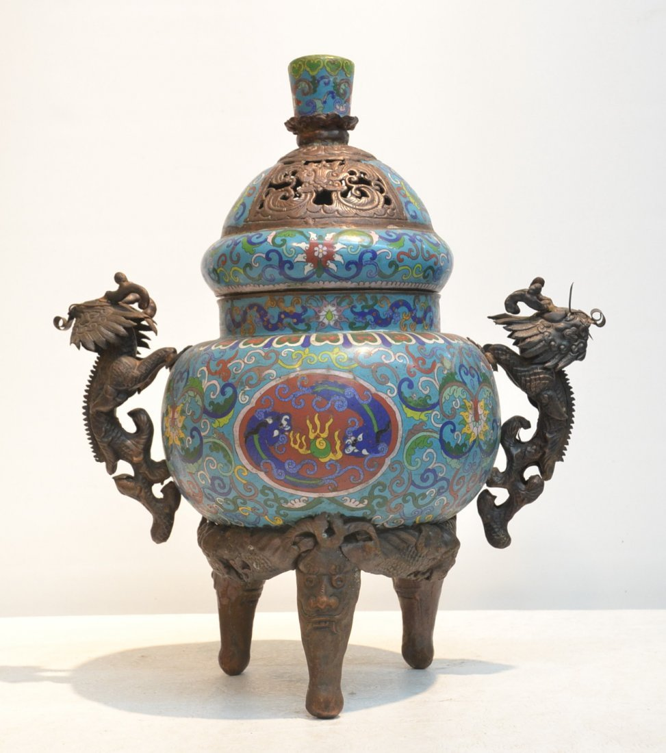 LARGE 2-PART CLOISONNE SENSOR WITH RETICULATED