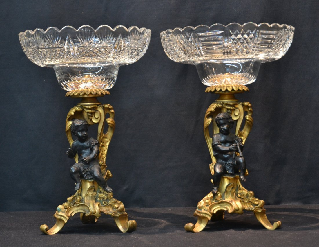 MATCHED (Pr) 19thC FRENCH 2-TONE BRONZE TAZZAS