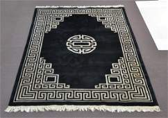 9' x 12' CHINESE WOOL RUG WITH DEEP BLACK GROUND