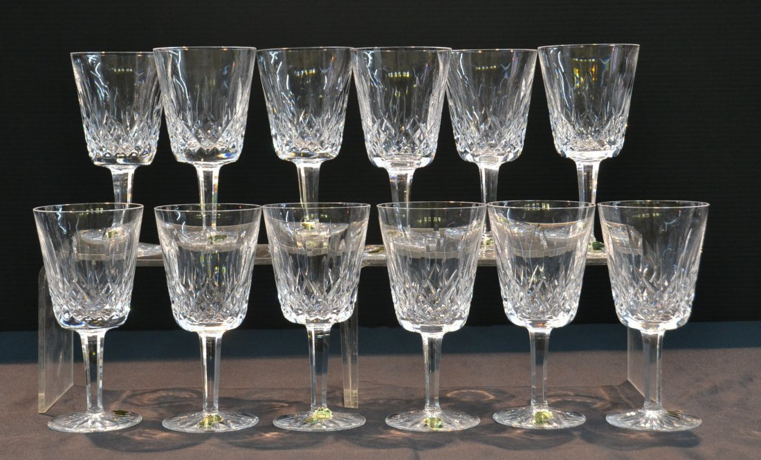 """(12) WATERFORD """"LISMORE"""" CRYSTAL GOBLETS"""