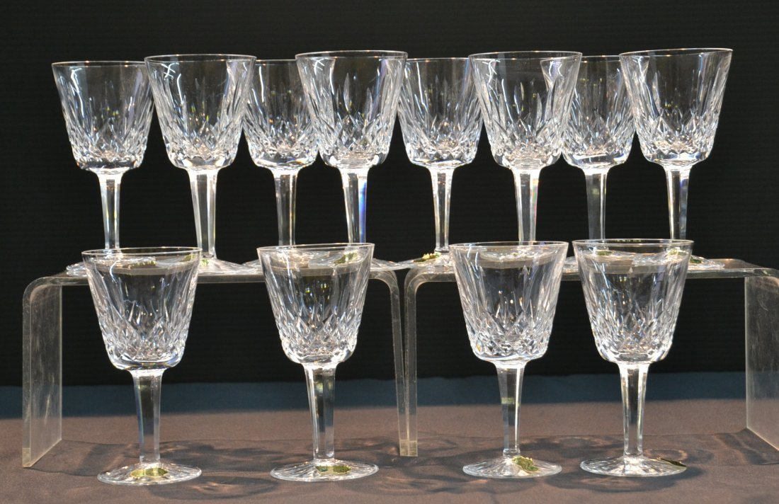 """(12) WATERFORD """"LISMORE"""" CLARET GLASSES WITH"""