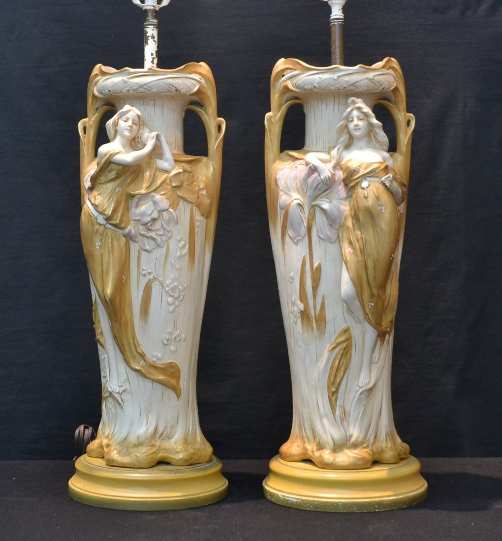 (Pr) NOUVEAU STLE ROYAL DUX FIGURAL LAMPS WITH