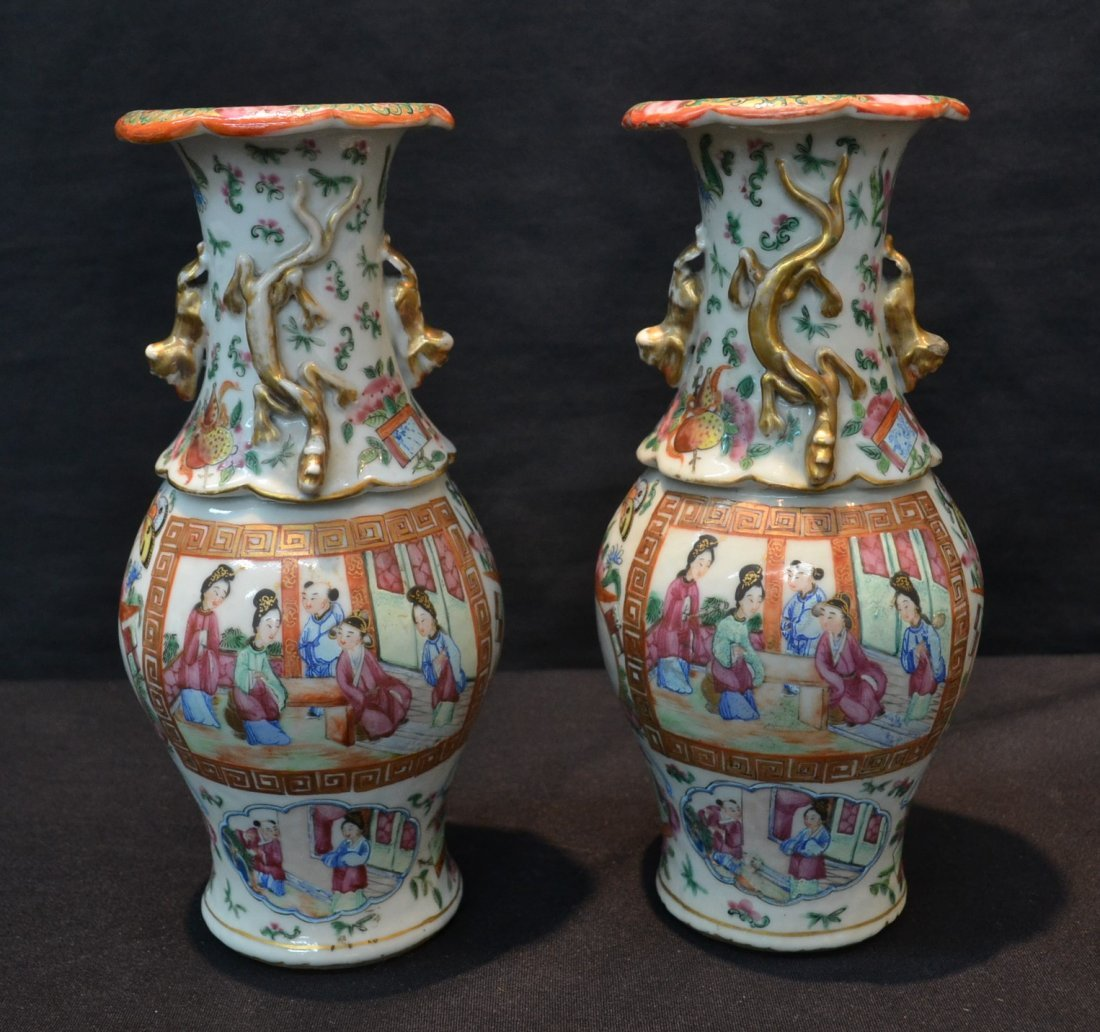 (Pr) FIGURAL ROSE MEDALLION VASES WITH APPLIED