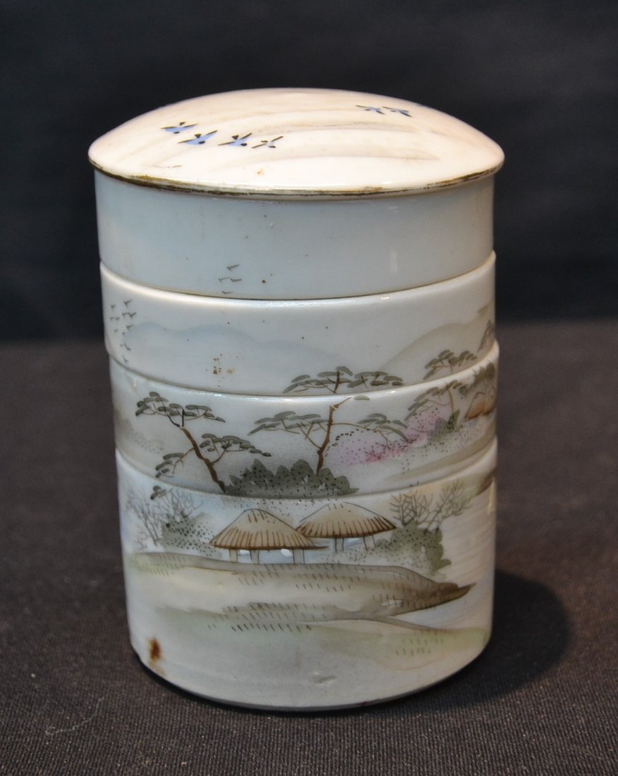 SCENIC CHINESE PORCELAIN STACK OF DISHES