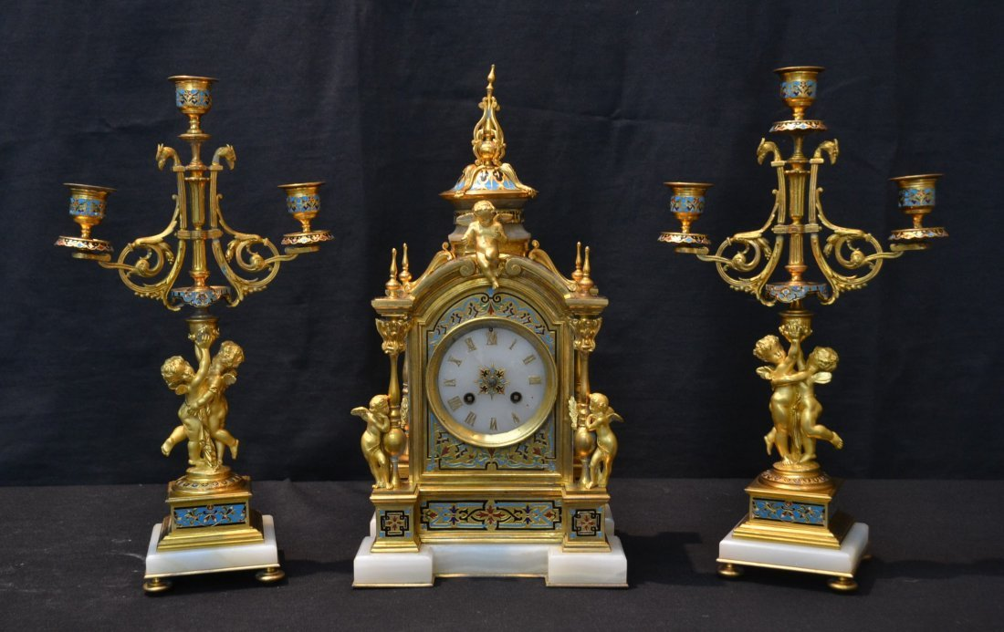 19thC DORE BRONZE , CHAMPLEVE & ONYX CLOCK WITH
