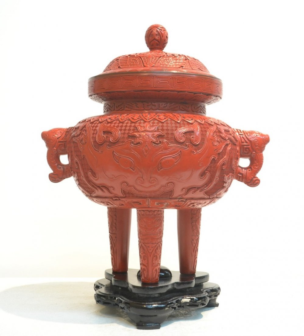 LARGE CINNABAR TWIN HANDLE COVERED URN RAISED