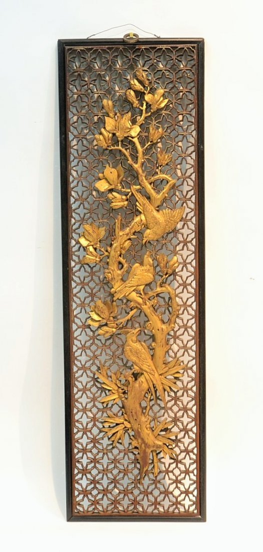 19thC RETICULATED WOOD WALL HANGING WITH