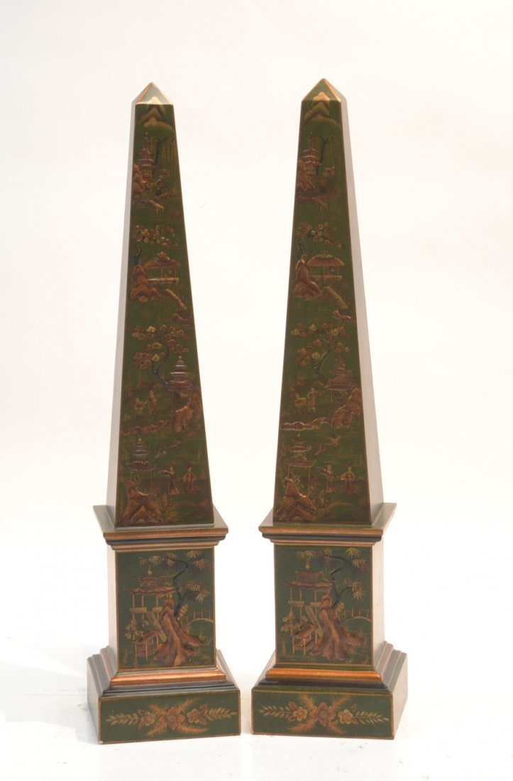 (Pr) CHINOISERIE DECORATED GREEN OBELISKS WITH