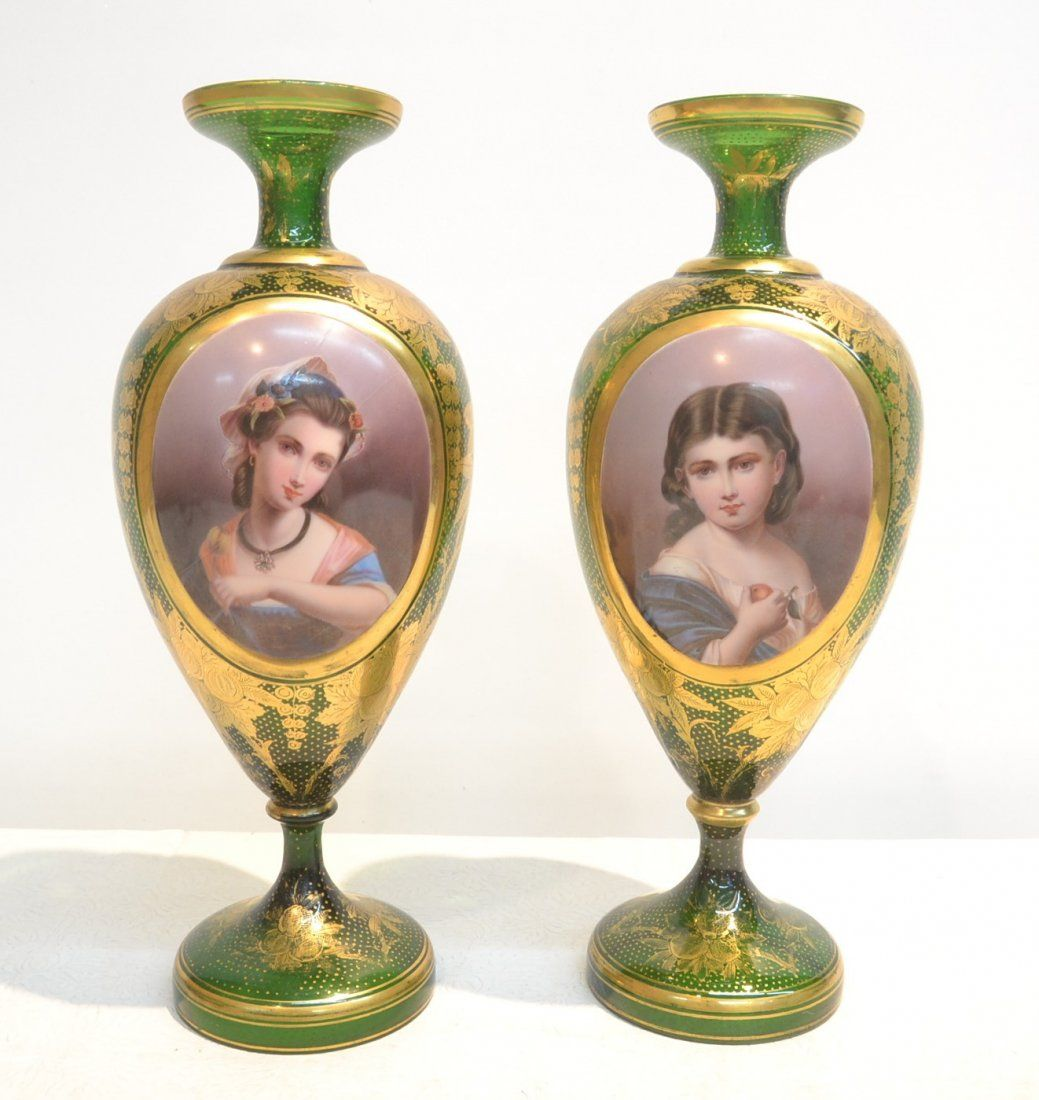 (Pr) BOHEMIAN GREEN GLASS VASES WITH LARGE OVERLAY