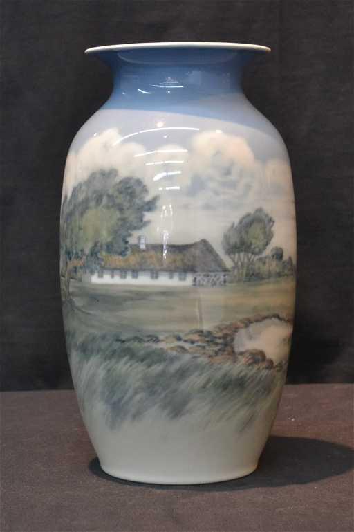 Large Scenic Royal Copenhagen Vase With