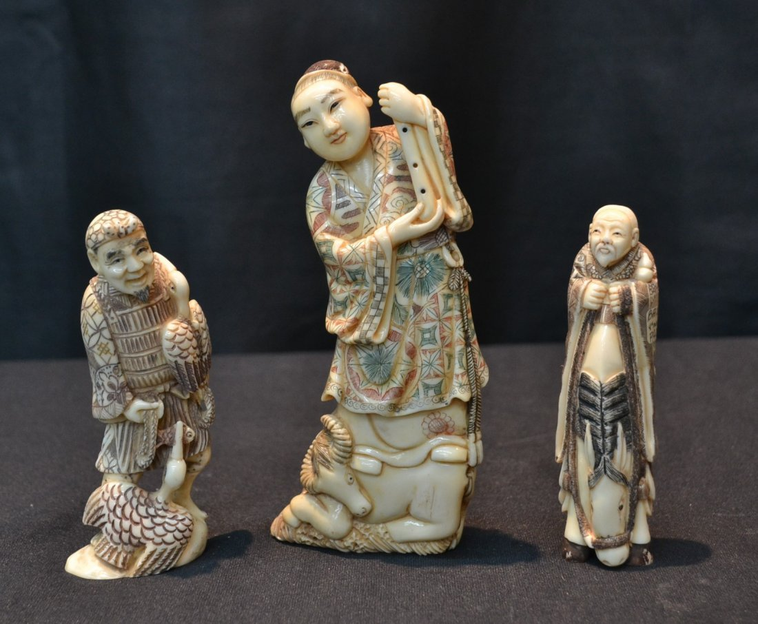 (3) CARVED HIPPO IVORY FIGURES - LARGEST IS