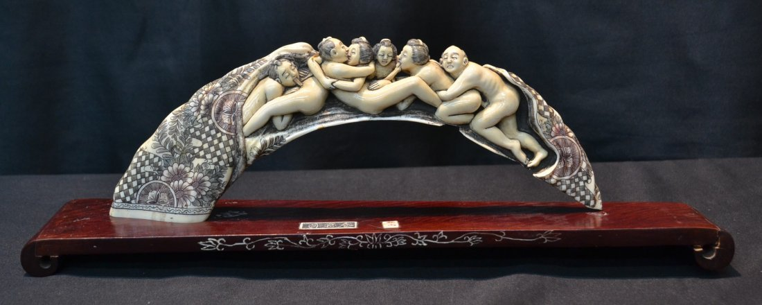 CARVED HIPPO IVORY EROTIC BRIDGE SCULPTURE OF