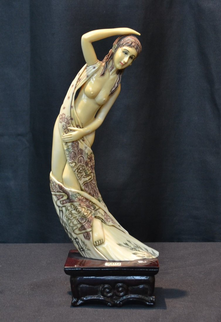 HIPPO IVORY DRAPED FEMALE NUDE WITH EUROPEAN FACE