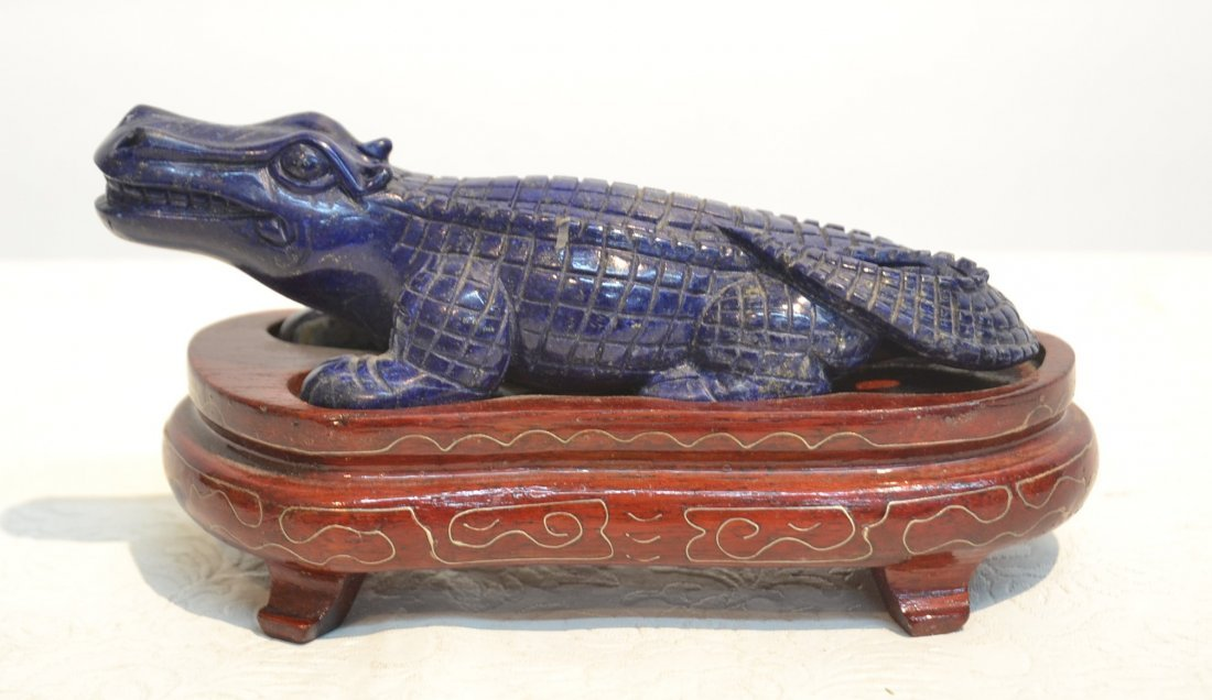 CARVED LAPIS ALLIGATOR ON STAND