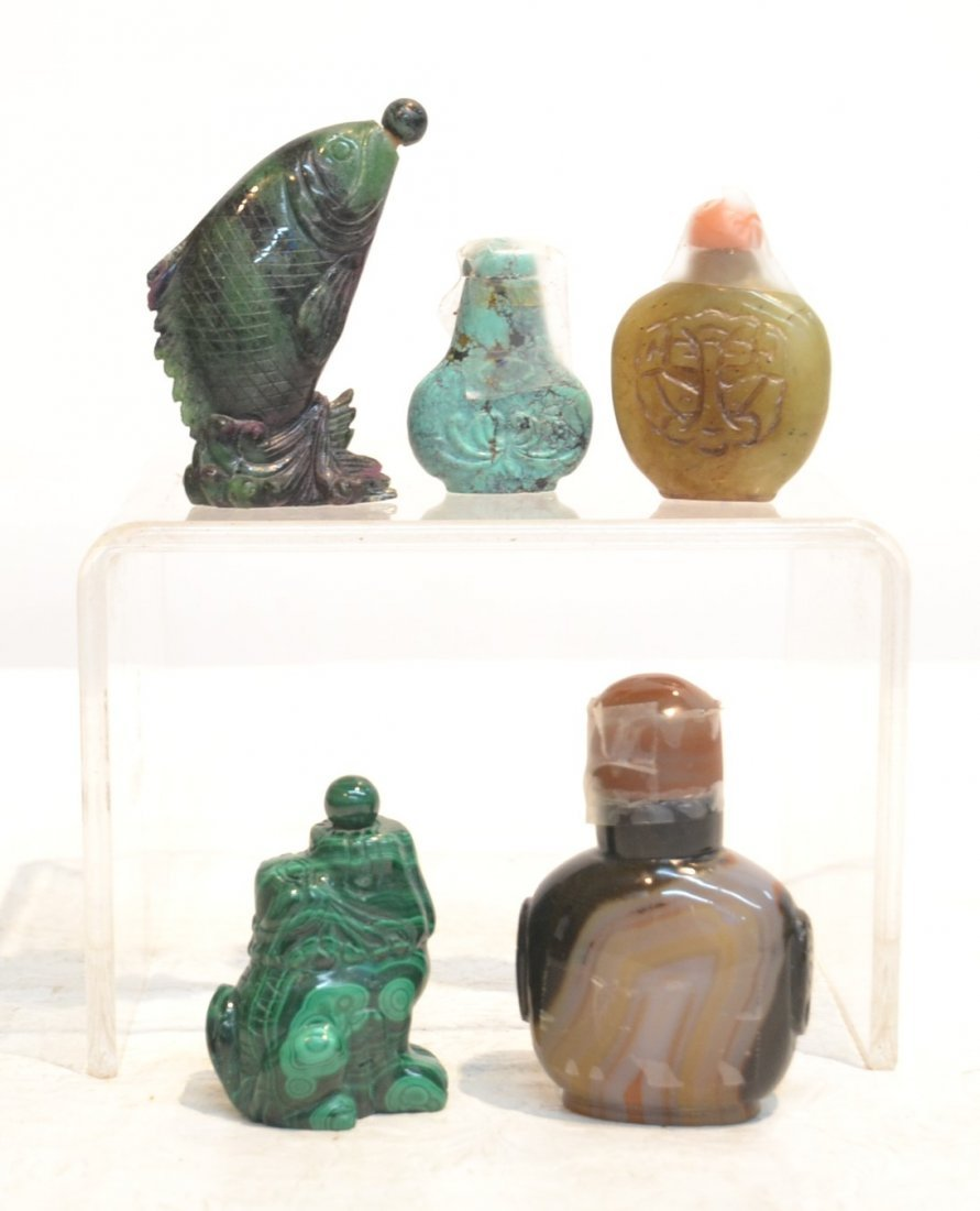 (5) SNUFF BOTTLES - MALACHITE , AGATE, RUBY ,