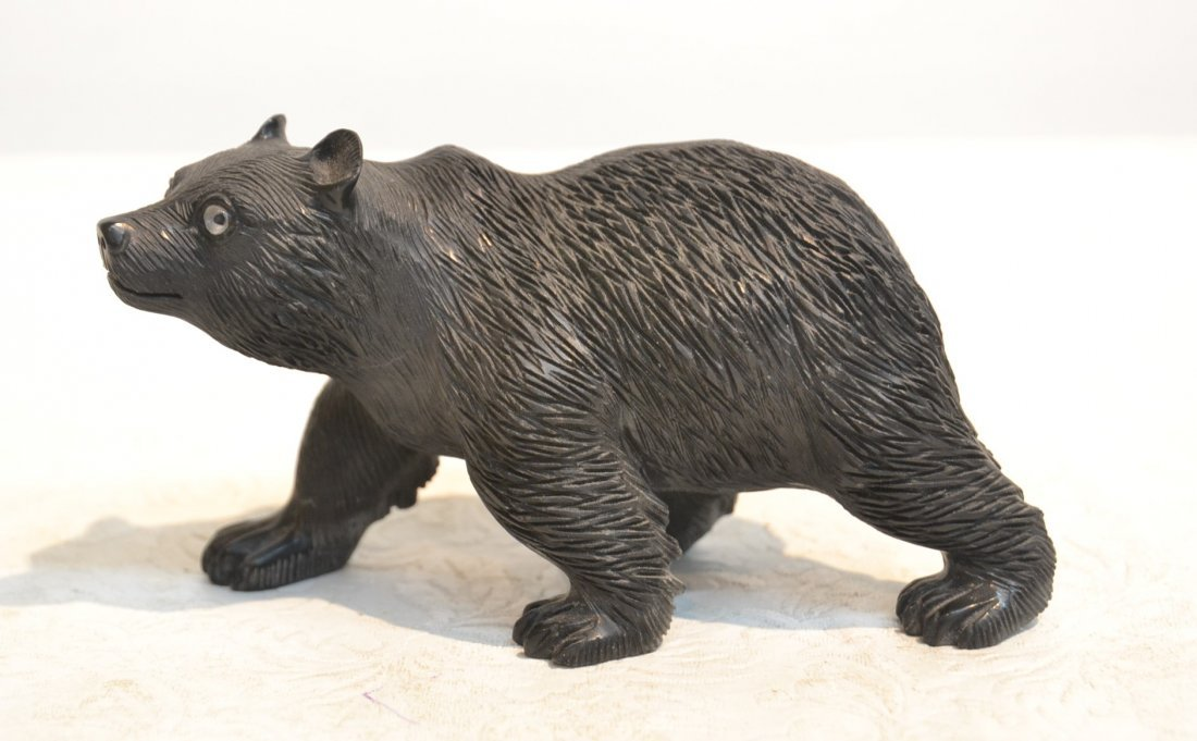 BLACK OBSIDIAN BEAR WITH CRYSTAL EYES