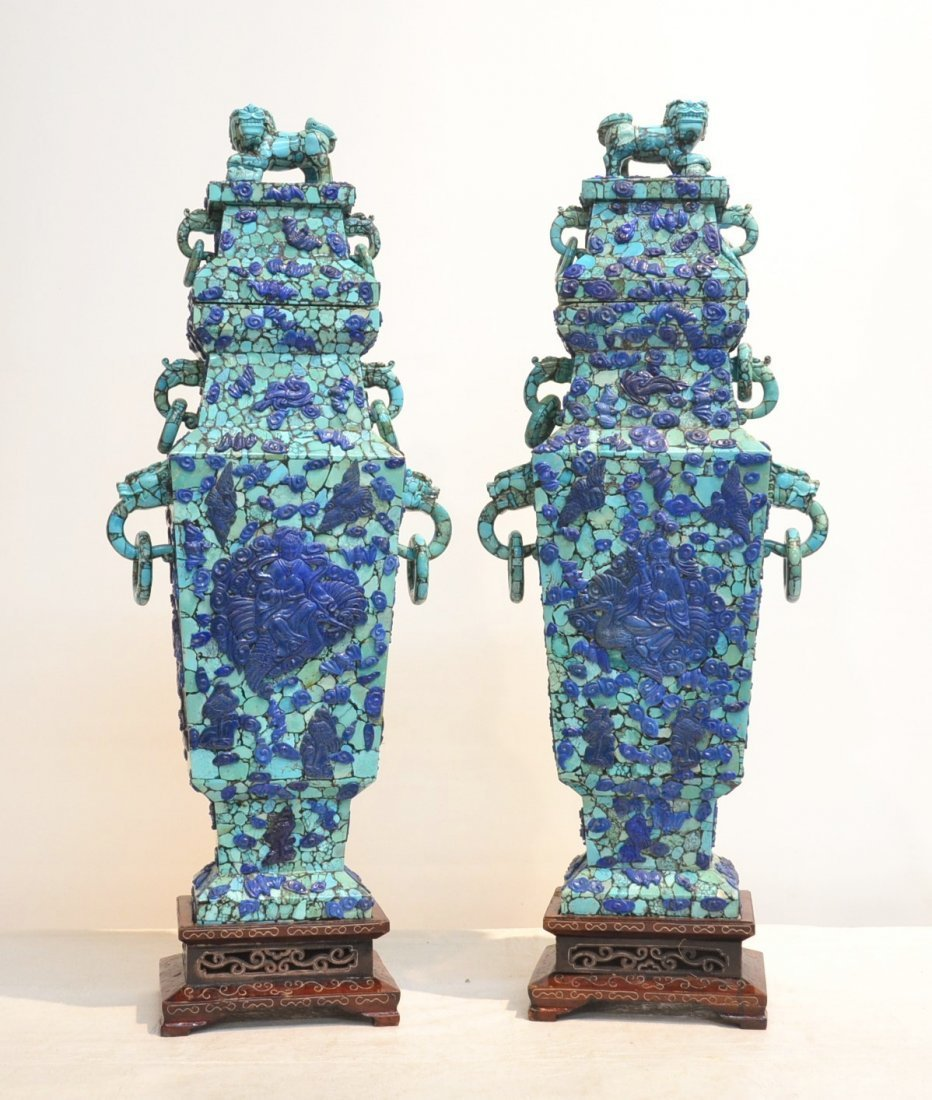 (Pr) RARE LARGE TURQUOISE COVERED URNS WITH