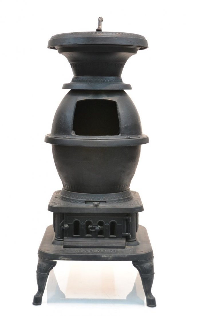 LARGE CAST IRON POT BELLY STOVE BY ARMSTRONG