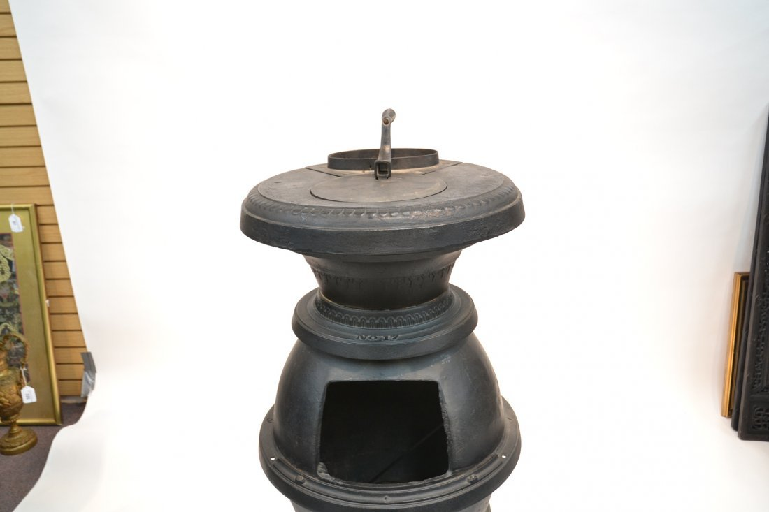 LARGE CAST IRON POT BELLY STOVE BY ARMSTRONG - 4