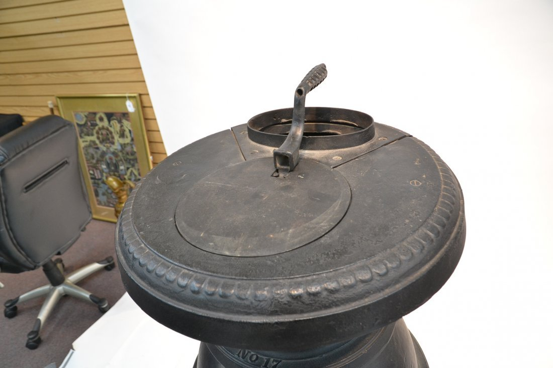 LARGE CAST IRON POT BELLY STOVE BY ARMSTRONG - 5