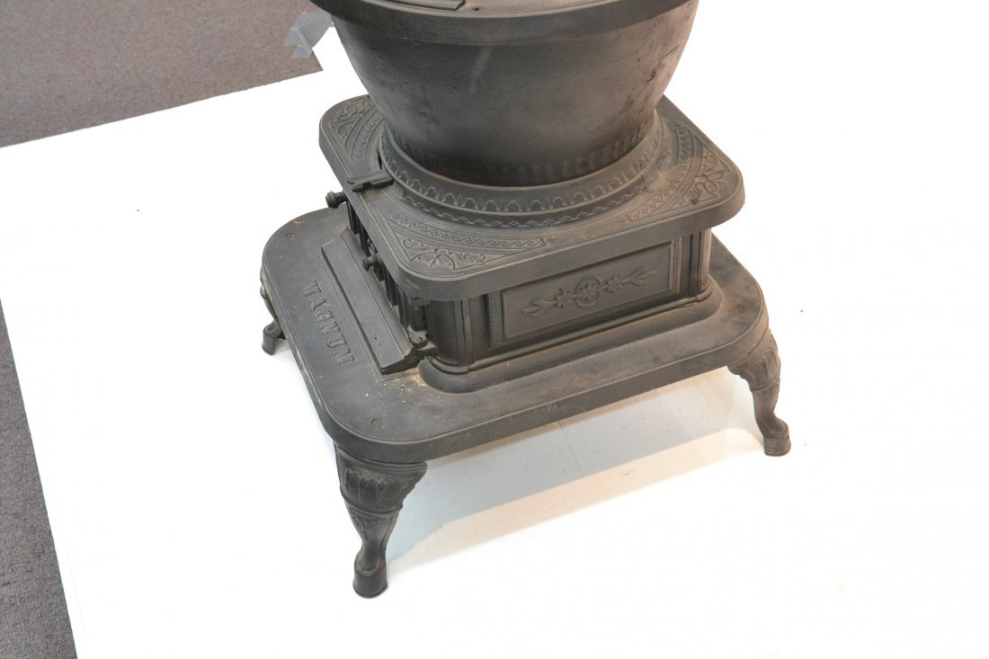 LARGE CAST IRON POT BELLY STOVE BY ARMSTRONG - 7