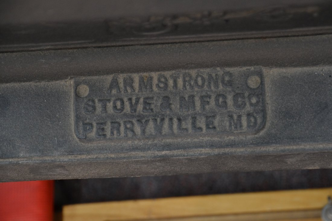 LARGE CAST IRON POT BELLY STOVE BY ARMSTRONG - 9