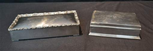 2 STERLING SILVER HINGED BOXES WITH WOOD LINERS