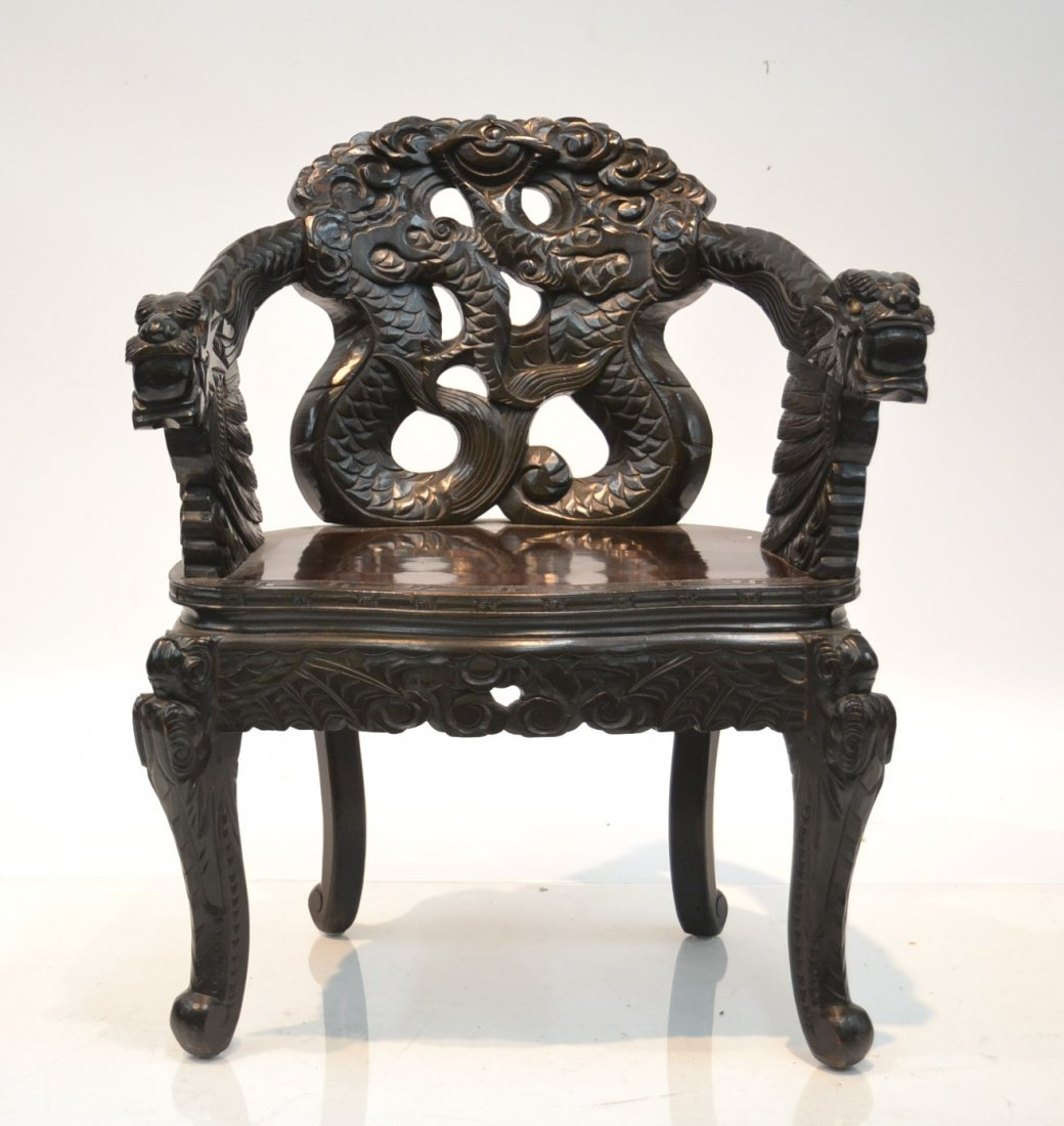 CARVED JAPANESE CHAIR WITH DRAGONS