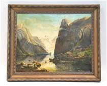 OIL ON CANVAS MOUNTAIN LAKE LANDSCAPE WITH