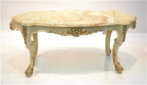 LXV STYLE WHITE & GOLD ONYX TOP COFFEE TABLE