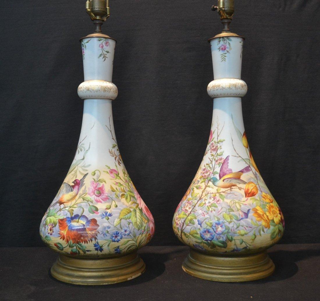 (Pr) LARGE HAND PAINTED PORCELAIN VASE LAMPS
