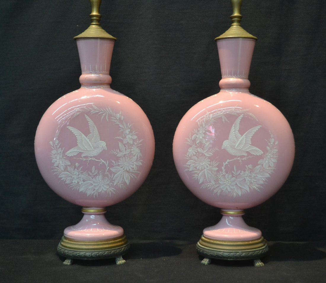 (Pr) PINK OPALINE GLASS LAMPS WITH ENAMELED