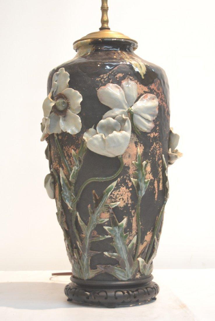 JAPANESE SUMIDA POTTERY VASE LAMP WITH RAISED