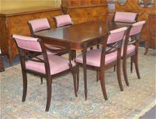 BANDED MAHOGANY DINING ROOM TABLE WITH