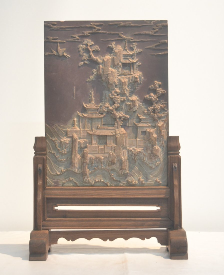 CARVED STONE CHINESE PLAQUE WITH RAISED