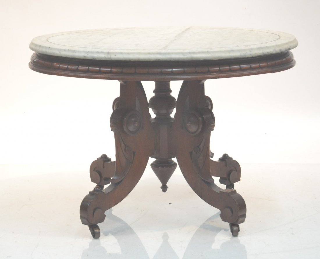 """OVAL VICTORIAN MARBLE TOP TABLE - 24"""" x 31"""" x 21"""""""