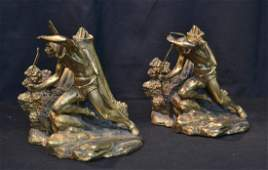 Pr GILT METAL INDIAN STANDING BY TEEPEE